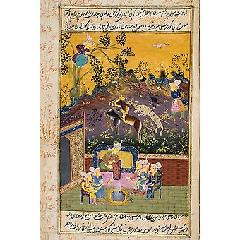 Painting From 17Th Century Persian Manuscript Hunters And Favourites Drinking With Noble Or King PosterPrint