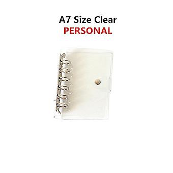 6-hole Clear, Binder Cover Notebook, Round Ring Protector With Snap Closure,