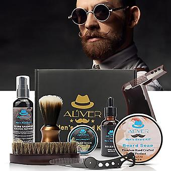 Men's Beard Kit Styling Tool, Beard Bib Tabliers Baume Barbe Peigne à huile Hydratant