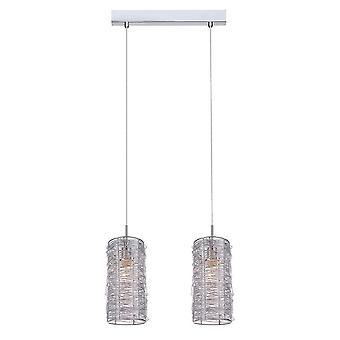 Italux Linton - Pendentif suspendu moderne Silver 2 Light with Metal Alloy Shade, E14
