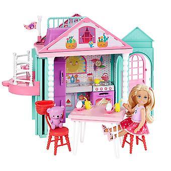 باربي dwj50 الأسرة تشيلسي Clubhouse اللعب المحمولة، وبناء الملونة، وشملت دمية، مجموعة المطبخ