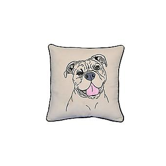 "American Bull Dog Portrait Printed Design Novelty White Cotton Pillow 15""x15"""