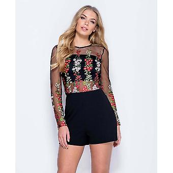 Flower print long sleeve embroidered mesh playsuit
