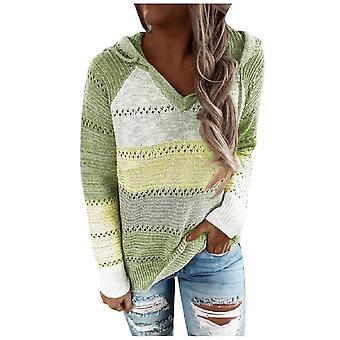 Őszi V nyak patchwork kapucnis nők alkalmi hosszú ujjú kötött pulóver