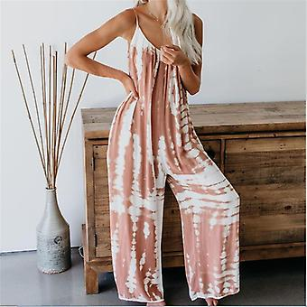 Women Sleeveless Tie-dye Beach Boho Casual Jumpsuit Summer Homewear Beach
