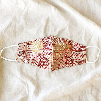 Red Java 3-ply Batik Face Mask With Waterproof Filter