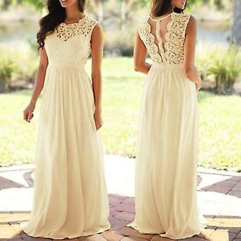 Sexy Lace Backless O-neck Sleeveless Long Wedding Party Formal Dresses