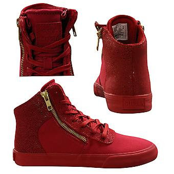 Supra Cuttler Mid Top Lace Up Zip Up Womens Trainers Red 98037 616 B74A