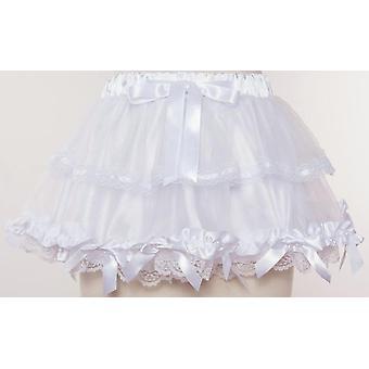 elastisk gotisk blonder skjørt, kvinner mesh sateng buer, detalj underskjørt, mini tyll