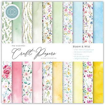 Craft Consortium Essential Craft Papers 6x6 tums papper Pad Bloom & Vilda