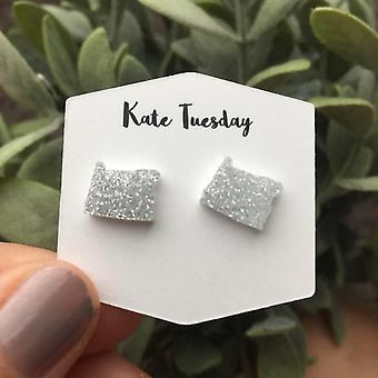 Boucles d'oreilles Silver Sparkly Oregon State Stud
