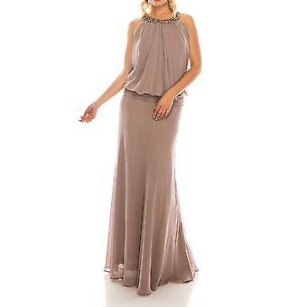 Stone Beaded Long Chiffon Drop-waist Evening Gown