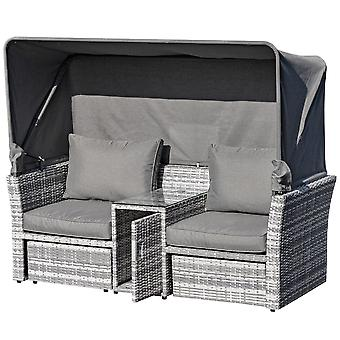 Outsunny 3 Pieces Outdoor PE Rattan Patio Furniture Set Daybed 2-Seater Sofa Footstool Tempered Glass Coffee Table Conversation Set with Retractable Canopy, Olefin Cushion