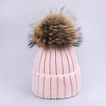 Scarf Hat Set With Fur Pompon