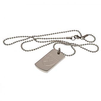 West Ham United FC Engraved Dog Tag And Chain