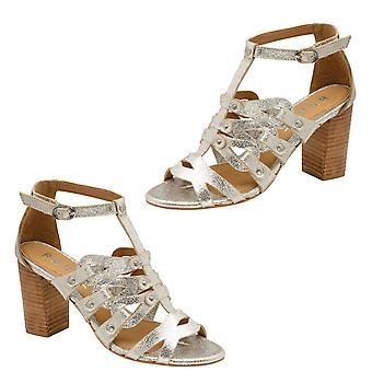 Ravel Jackson Leather Heeled Sandals Size 4 - Silver