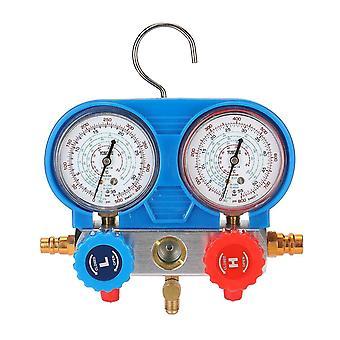 Dual gauges set refrigeration equipment pressure measuring tool kit with 3 recharge hoses