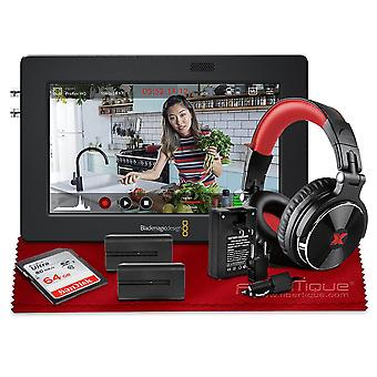 """Blackmagic design video assist 3g-sdi/hdmi 5"""" recorder/monitor with headphones, battery, charger, and more with deluxe bundle ps44903"""