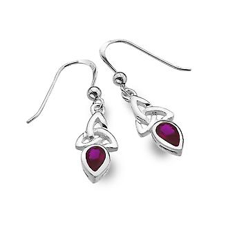 Boucles d'oreilles Sterling Silver - Celtic Trinity + Synthétique / Ruby