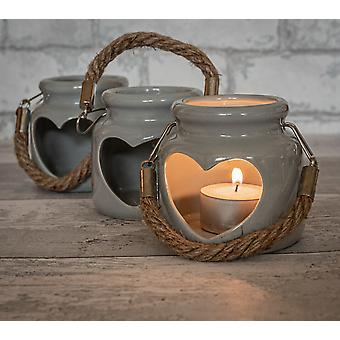 Heart Ceramic Candle Holder Grey 8Cm By Lesser & Pavey