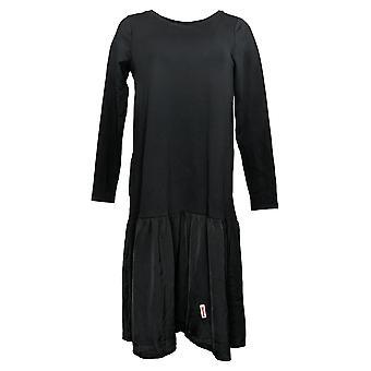 LOGO de Lori Goldstein Vestido francés Terry con dobladillo tejido negro A394115
