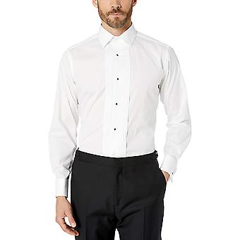"""Merk - Buttoned Down Men's Tailored Fit Easy Care Bib-Front Spread-Collar Tuxedo Shirt, Wit 17.5"""" Hals 35"""" Mouw"""