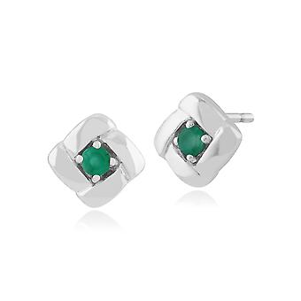 Classic Round Emerald Square Crossover Stud Earrings in 925 Sterling Silver 270E019903925