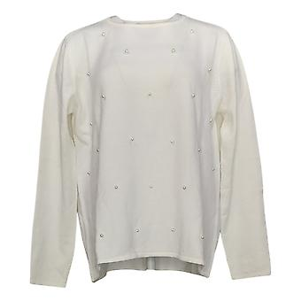 Attitude Par Renee Women's Sweater Pearl Crew Neck Sweater Ivory A452938