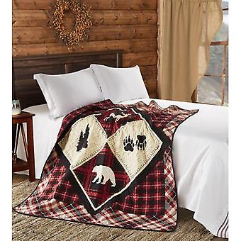Spura Home Pictorial Diamond Bear Primitive Plaid Modern Quilted Throw