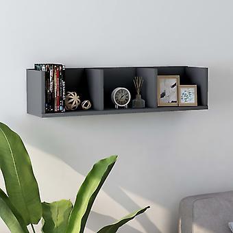 vidaXL CD wall shelf grey 75 x 18 x 18 cm chipboard