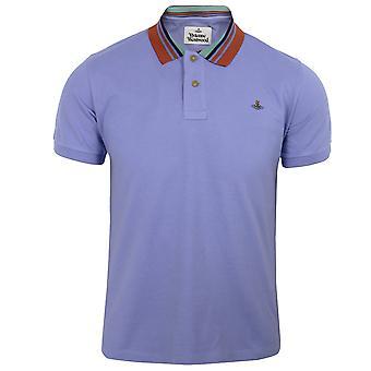 Vivienne westwood men's lilac blue stripe collar polo shirt