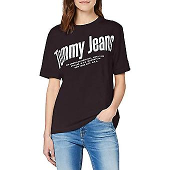 Tommy Jeans Tjw Diagonal Logo Tee T-Shirt, Black Bds, 44 (One Size: Large) Woman