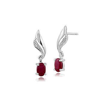 Gemondo 9ct witgoud 0.64ct Ruby & Diamond Drop Earrings