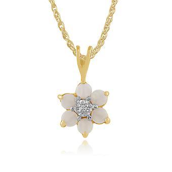 floral runde opal & diamant anheng halskjede i 9ct gult gull 181p0016459