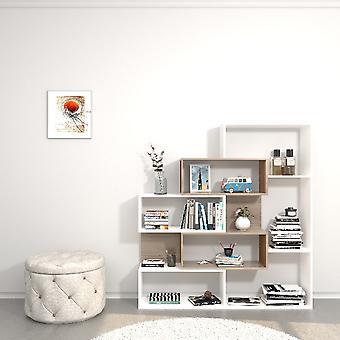 Bibliothèque Era Couleur Blanc, Sonoma, en Broyage Mélamine, ABS L140xP25xA150 cm