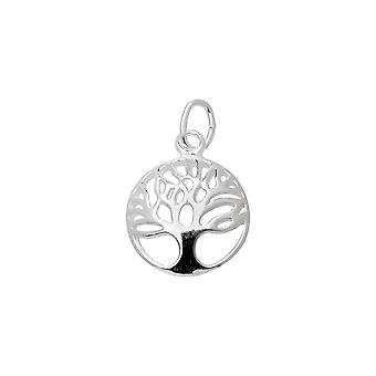 Sterling Sølv Charme, Openwork Tree of Life med Jump Ring 14.5x11.5mm, 1 piece