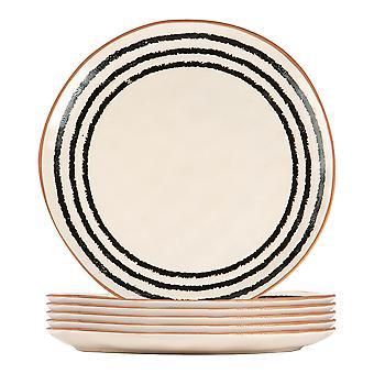6x Ceramic Stripe Rim Dinner Plates Vajilla estampada 26cm Monocromo
