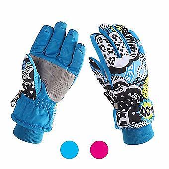 M blå barn vinterhansker varmt fôr vindtett vanntett hansker daglig bruk dt6445