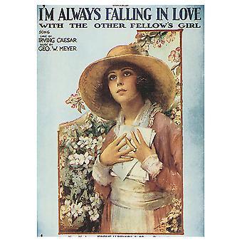 Vintage Music Cover I'M Altid forelsket i de andre Fellow'S Girl - Canvas Print, Wall Art Decor