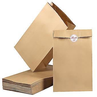 100 Pack Block Bottom Brown Kraft Paper Bags 27 X 15 X 9cm Lunch Bakery Bags