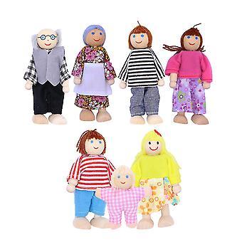 Деревянные семейные куклы из 7 человек для детей
