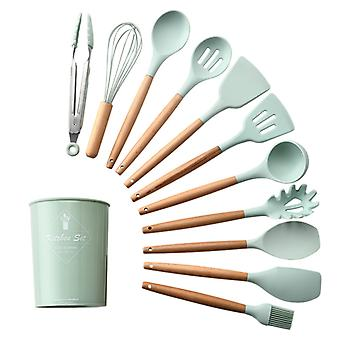 Silicone Kitchenware Cooking Utensils Set Non-Stick Spatula Shovel Wooden Handle Cooking Tools