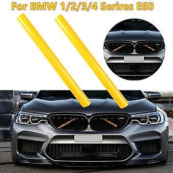 Gul grillstång V Hängslen Främre Galler Trim Remsor Omslag för BMW E60 1 2 3 4-serien