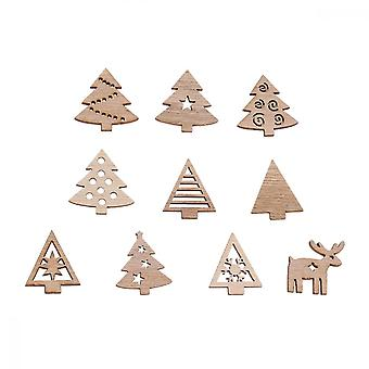 100pcs Creative Wooden Pieces Christmas Tree Wood Crafts Party Decor (random Style)