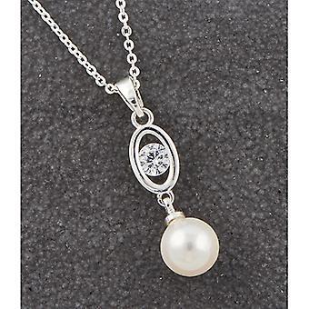 Elegante diamant & hangende parel ketting