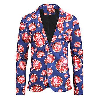 Mile Christmas Suit Party Mens Funny Novelty Xmas Jacket Costume, Ugly Christmas Suit Blue