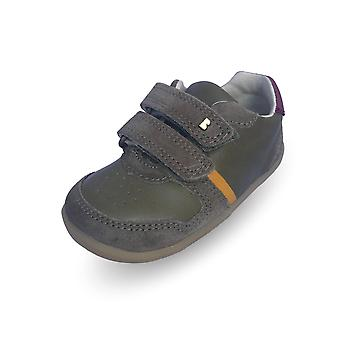 Bobux step up riley olive green & boysenberry shoes