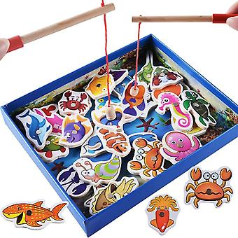 32Pcs Baby Educational Toys Fish Wooden Magnetic Fishing Toy Set Game Christmas  Fishing