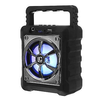Black portable bluetooth speaker microphone waterproof outdoor music subwoofer support FM TF Aux