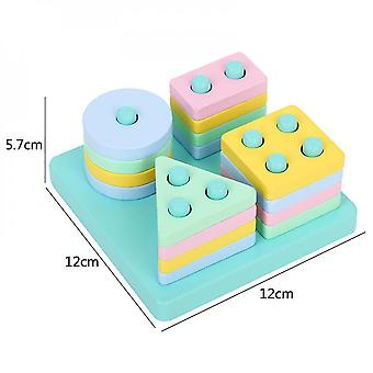 Diikamiiok Children's Shape Matching Blocks Macaron Color Educational Early Education Wooden Toys